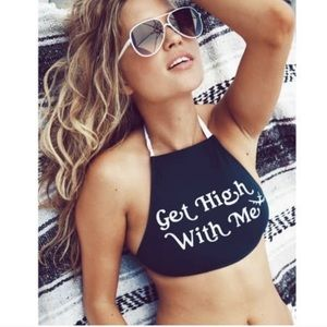 NWT Wildfox Get High With Me Blue Halter Swim Top